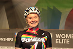 Skye Davidson of Zimbabwe at sign on for the start of the Women Elite Road Race of the UCI World Championships 2019 running 149.4km from Bradford to Harrogate, England. 28th September 2019.<br /> Picture: Eoin Clarke | Cyclefile<br /> <br /> All photos usage must carry mandatory copyright credit (© Cyclefile | Eoin Clarke)