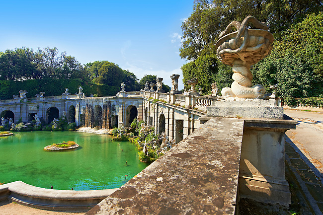 Royal Park of the Palace of Caserta -  the  Aeolus Fountain. Italy. A UNESCO World Heritage Site