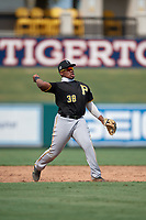 Pittsburgh Pirates third baseman Alexander Mojica (38) throws to first base during a Florida Instructional League game against the Detroit Tigers on October 16, 2020 at Joker Marchant Stadium in Lakeland, Florida.  (Mike Janes/Four Seam Images)