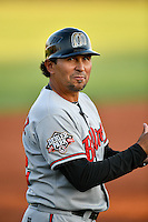 Billings Mustangs manager Ray Martinez (22) during the game against the Orem Owlz in Pioneer League action at Home of the Owlz on July 25, 2016 in Orem, Utah. Orem defeated Billings 6-5. (Stephen Smith/Four Seam Images)