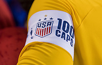 CHARLOTTE, NC - OCTOBER 3: Ashlyn Harris #18 of the United States wears the captain's armband during a game between Korea Republic and USWNT at Bank of America Stadium on October 3, 2019 in Charlotte, North Carolina.