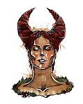 Illustration of Taurus woman zodiac sign over white background