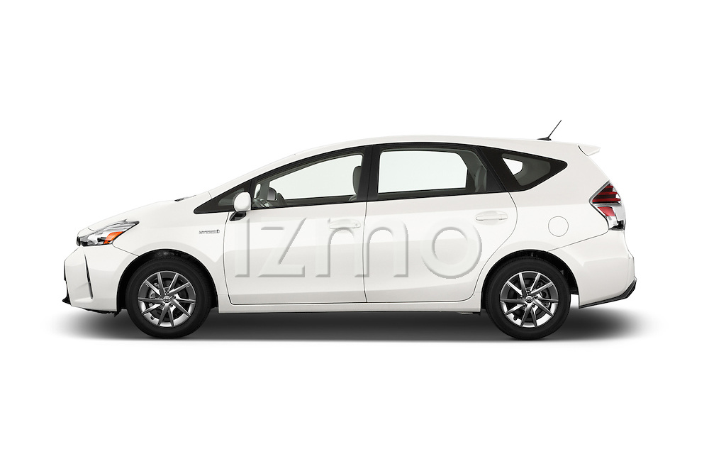 Car driver side profile view of a 2015 Toyota Prius V Four 5 Door MPV