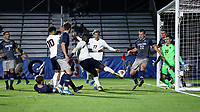 CARY, NC - DECEMBER 15: Daryl Dike #9 of University of Virginia ties the game with his goal in the 86th minute during a game between Georgetown and Virginia at Sahlen's Stadium at WakeMed Soccer Park on December 15, 2019 in Cary, North Carolina.
