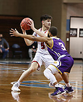 SIOUX FALLS, SD - MARCH 6: Kruz Perrott-Hunt #5 of the South Dakota Coyotes looks past defender Justin Brookens #3 of the Western Illinois Leathernecks during the Summit League Basketball Tournament at the Sanford Pentagon in Sioux Falls, SD. (Photo by Richard Carlson/Inertia)