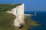 United Kingdom, England, East Sussex, near Eastbourne: Chalk cliffs of Beachy Head and Beachy Head Lighthouse.