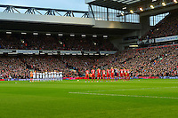 Sunday, 23 February 2014<br /> Pictured: The Swansea City and Liverpool players take part in a minute's applause for Sir Tom Finney<br /> Re: Barclay's Premier League, Liverpool FC v Swansea City FC v at Anfield Stadium, Liverpool Merseyside, UK.