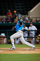 Tampa Tarpons second baseman Oswaldo Cabrera (3) hits an RBI base hit during a Florida State League game against the Lakeland Flying Tigers on April 5, 2019 at Publix Field at Joker Marchant Stadium in Lakeland, Florida.  Lakeland defeated Tampa 5-3.  (Mike Janes/Four Seam Images)