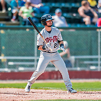 4 September 2017: Tri-City ValleyCats infielder Kyle Davis at bat in the 4th inning during the first game of a double-header against the Vermont Lake Monsters at Centennial Field in Burlington, Vermont. The ValleyCats split their games, winning 6-5 in the first, then dropping the second 7-4 to the Lake Monsters in NY Penn League action. Mandatory Credit: Ed Wolfstein Photo *** RAW (NEF) Image File Available ***