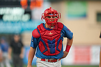 Clearwater Threshers catcher Nick Matera (7) during a Florida State League game against the Palm Beach Cardinals on August 9, 2019 at Roger Dean Chevrolet Stadium in Jupiter, Florida.  Palm Beach defeated Clearwater 3-0 in the second game of a doubleheader.  (Mike Janes/Four Seam Images)