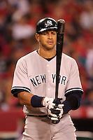 New York Yankees third baseman Alex Rodriguez #13 bats against the Los Angeles Angels at Angel Stadium on June 4, 2011 in Anaheim,California. Larry Goren/Four Seam Images