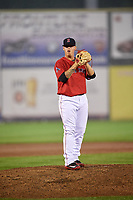 Salem Red Sox starting pitcher Jhonathan Diaz (28) looks in for the sign during the second game of a doubleheader against the Potomac Nationals on June 11, 2018 at Haley Toyota Field in Salem, Virginia.  Potomac defeated Salem 4-0.  (Mike Janes/Four Seam Images)