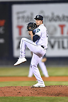 Asheville Tourists pitcher Danny Cody (19) delivers a pitch during a game against the Greenville Drive on May 18, 2021 at McCormick Field in Asheville, NC. (Tony Farlow/Four Seam Images)