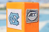 CHAPEL HILL, NC - NOVEMBER 14: ACC and UNC logged end zone football pylon during a game between Wake Forest and North Carolina at Kenan Memorial Stadium on November 14, 2020 in Chapel Hill, North Carolina.