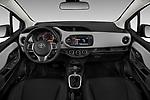 Stock photo of straight dashboard view of a 2018 Toyota Yaris L 3-Door Liftback 3 Door Hatchback
