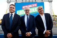 The candidate at the 5th municipality Massimiliano Umberti, the candidate mayor of Rome for center-left coalition Roberto Gualtieri and president of Lazio Nicola Zingaretti during the closing of the electoral campaign to elect the new mayor of Rome, in San Basilio, a neighborhood in the outskirts of Rome.<br /> Rome (Italy), October 1st 2021<br /> Photo Samantha Zucchi / Insidefoto