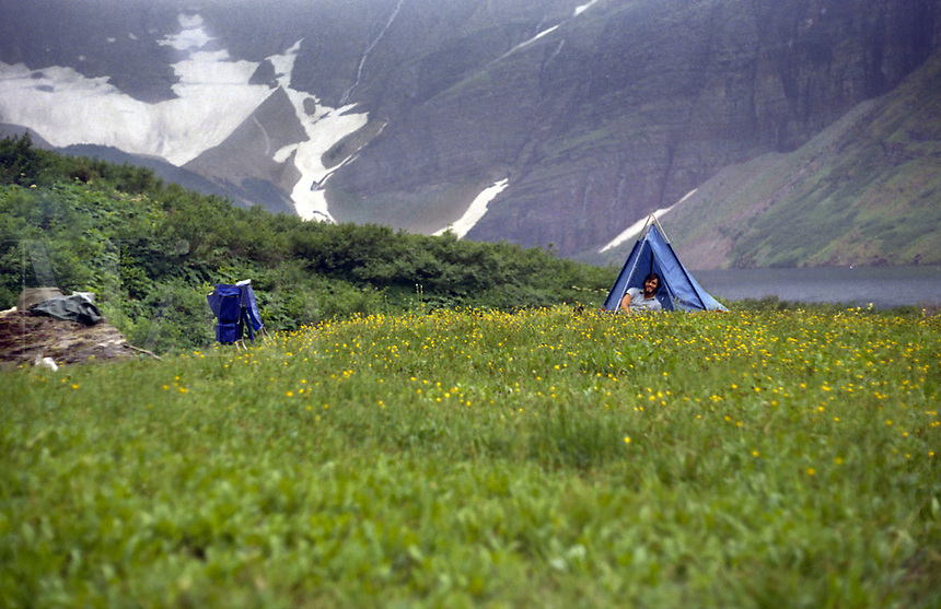 Tent pitched in open field