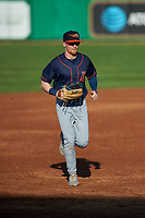 Bowling Green Hot Rods center fielder Michael Smith (1) jogs off the field between innings of a Midwest League game against the Peoria Chiefs at Dozer Park on May 5, 2019 in Peoria, Illinois. Peoria defeated Bowling Green 11-3. (Zachary Lucy/Four Seam Images)