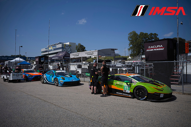 #11 GRT Grasser Racing Team Lamborghini Huracan GT3, GTD: Richard Heistand, Steijn Schothorst, Richard Westbrook, #16 Wright Motorsports Porsche 911 GT3 R, GTD: Ryan Hardwick, Patrick Long, Jan Heylen