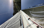 "Last runs for the Hydroptere in San Francisco Bay before heading back to Los Angeles, Hydroptere's home for the Trans-Pacific record attempt."" Alain Thébault and his crew (Jacques Vincent, Yves Parlier, Jean Le Cam, Jeff Mearing, Warren Fitzgerald) San Francisco, California, USA."