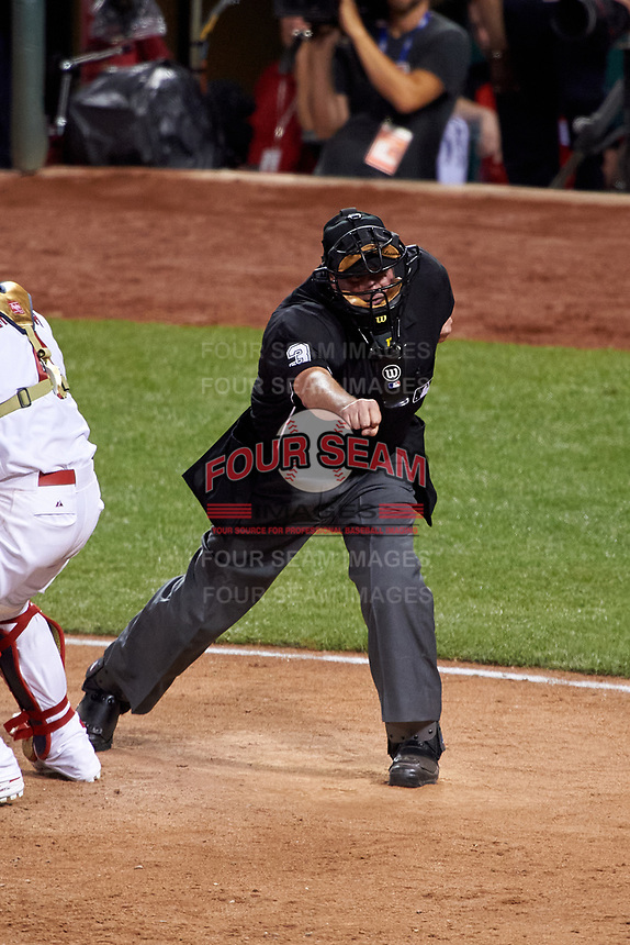 Umpire Tim Welke strike three call during the MLB All-Star Game on July 14, 2015 at Great American Ball Park in Cincinnati, Ohio.  (Mike Janes/Four Seam Images)