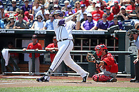 Kevin Cron #00 of the TCU Horned Frogs bats during Game 3 of the 2014 Men's College World Series between the Texas Tech Red Raiders and TCU Horned Frogs at TD Ameritrade Park on June 15, 2014 in Omaha, Nebraska. (Brace Hemmelgarn/Four Seam Images)