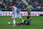 Leganes' Gerard Gumbau and Real Sociedad's Willian Jose Da Silva during La Liga match. August 24, 2018. (ALTERPHOTOS/A. Perez Meca)