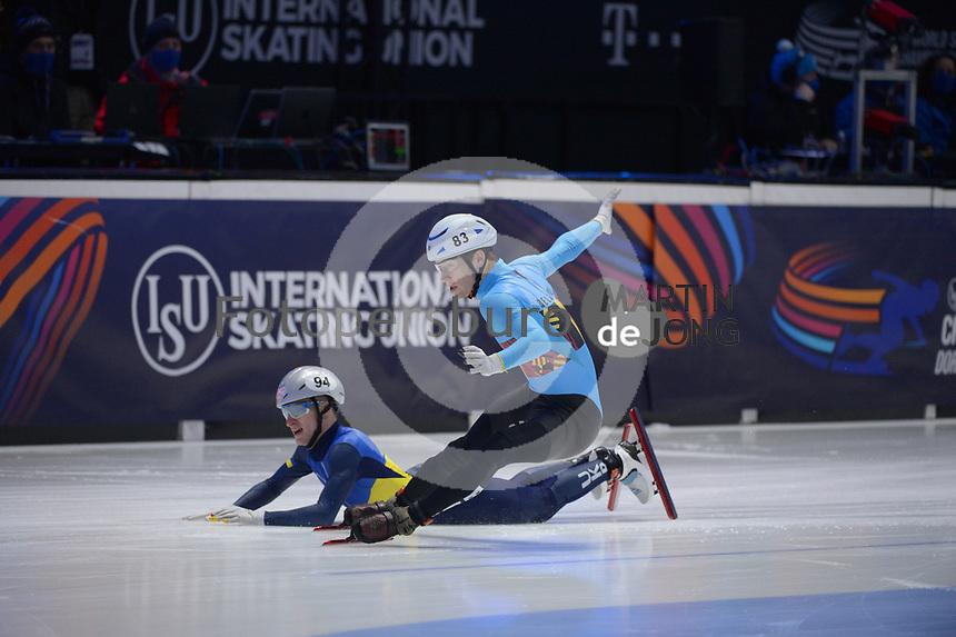 SPEEDSKATING: DORDRECHT: 06-03-2021, ISU World Short Track Speedskating Championships, RF 1500m Men, Oleh Handei (UKR), Rino Vanhooren (BEL), ©photo Martin de Jong