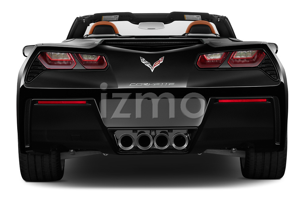Straight rear view of a 2018 Chevrolet Corvette Stingray Convertible 2LT 2 Door Convertible stock images