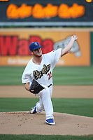 Caleb Ferguson (22) of the Rancho Cucamonga Quakes pitches against the Modesto Nuts at LoanMart Field on August 1, 2017 in Rancho Cucamonga, California. Rancho Cucamonga defeated Modesto, 2-1. (Larry Goren/Four Seam Images)