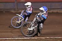 Heat 19: Kauko Nieminen (white) and Rob Mear (blue) - Lee Richardson Memorial Speedway Meeting at Arena Essex Raceway, Purfleet - 28/09/12 - MANDATORY CREDIT: Gavin Ellis/TGSPHOTO - Self billing applies where appropriate - 0845 094 6026 - contact@tgsphoto.co.uk - NO UNPAID USE.