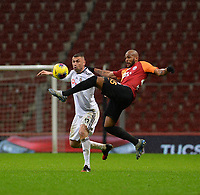 15th March 2020, Istanbul, Turkey;   Burak Yilmaz of Besiktas clears from Marcao of Galatasaray during the Turkish Super league football match between Galatasaray and Besiktas at Turk Telkom Stadium in Istanbul , Turkey on March 15 , 2020.