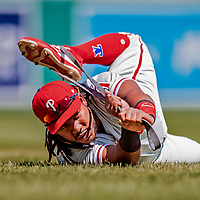 23 August 2018: Philadelphia Phillies infielder Maikel Franco warms up prior to a game against the Washington Nationals at Nationals Park in Washington, DC. The Phillies shut out the Nationals 2-0 to take the 3rd game of their 3-game mid-week divisional series. Mandatory Credit: Ed Wolfstein Photo *** RAW (NEF) Image File Available ***