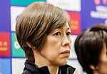 Team coach Kumi Nakada of Japan talks to media during the post match press conference of the FIVB Volleyball Nations League Hong Kong match China and Japan on May 30, 2018 in Hong Kong, Hong Kong. (Photo by Chris Wong/Power Sport Images/Getty Images)