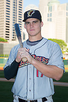 Tyler Austin (17) of the Scranton/Wilkes-Barre RailRiders poses for a photo prior to the game against the Charlotte Knights at BB&T BallPark on May 1, 2015 in Charlotte, North Carolina.  The RailRiders defeated the Knights 5-4.   (Brian Westerholt/Four Seam Images)
