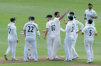 Brett Hutton of Nottinghamshire celebrates taking the wicket of Nick Browne during Essex CCC vs Nottinghamshire CCC, LV Insurance County Championship Group 1 Cricket at The Cloudfm County Ground on 5th June 2021