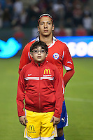 CARSON, CA – JANUARY 22: Chile defender Juan Abarca (3) before the international friendly match between USA and Chile at the Home Depot Center, January 22, 2011 in Carson, California. Final score USA 1, Chile 1.
