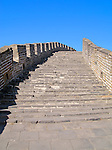 Looking up staircase on the Great Wall of China near Beijing, China.