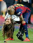 FC Barcelona's Daniel Alves celebrates with his daughter the victory in the Spanish King's Cup Final match. May 30,2015. (ALTERPHOTOS/Acero)