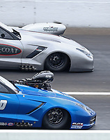 Jul 19, 2020; Clermont, Indiana, USA; Detailed view of the front ends of the cars of NHRA pro mod driver Chad Green (top) and Brandon Snider during the Summernationals at Lucas Oil Raceway. Mandatory Credit: Mark J. Rebilas-USA TODAY Sports