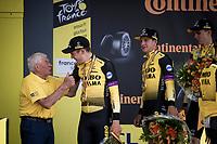 Tour legend Raymond Poulidor congratulating his grandson Mathieu Vandepoels (cx-)nemesis Wout van Aert (BEL/Jumbo - Visma) on the podium<br /> <br /> Stage 2 (TTT): Brussels to Brussels(BEL/28km) <br /> 106th Tour de France 2019 (2.UWT)<br /> <br /> ©kramon