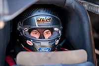 Jul 11, 2020; Clermont, Indiana, USA; NHRA funny car driver Jonnie Lindberg during qualifying for the E3 Spark Plugs Nationals at Lucas Oil Raceway. This is the first race back for NHRA since the start of the COVID-19 global pandemic. Mandatory Credit: Mark J. Rebilas-USA TODAY Sports