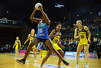 Mystics goalshoot Grace Nweke takes a pass during the ANZ Premiership netball match between Central Pulse and Northern Mystics at TSB Bank Arena in Wellington, New Zealand on Monday, 10 May 2021. Photo: Dave Lintott / lintottphoto.co.nz