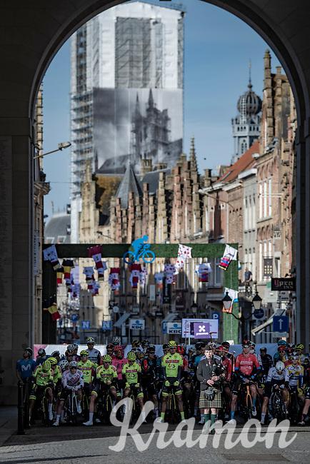 ceremonial tribute under the Menin Gate War Memorial at the race start in Ypres<br /> <br /> 83rd Gent-Wevelgem - in Flanders Fields (ME - 1.UWT)<br /> 1 day race from Ieper to Wevelgem (BEL): 254km<br /> <br /> ©kramon