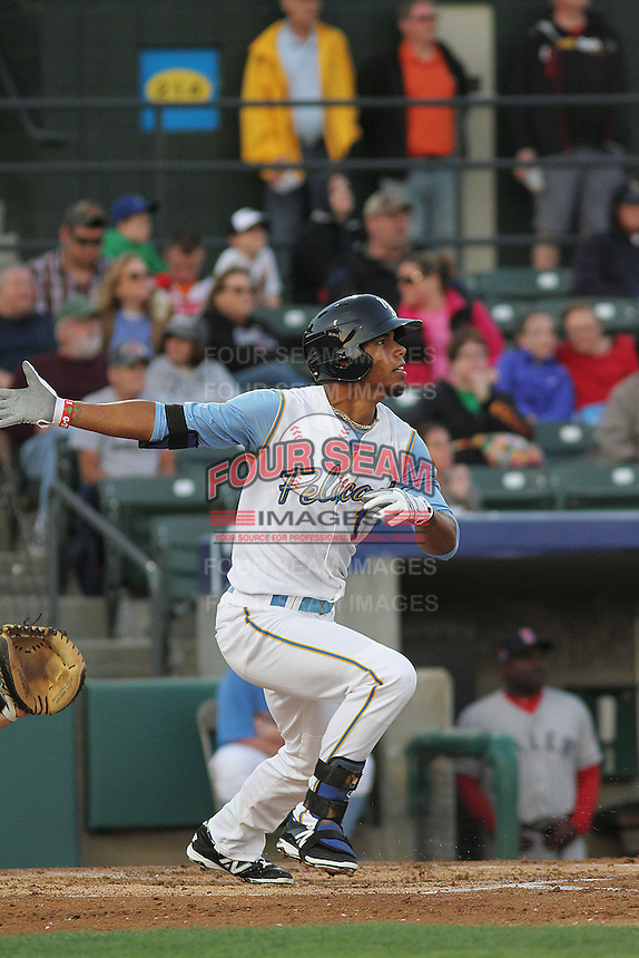 Myrtle Beach Pelicans outfielder Nick Williams #1 at bat during a game against the Salem Red Sox at Ticketreturn.com Field at Pelicans Ballpark on April 3, 2014 in Myrtle Beach, South Carolina. Salem defeated Myrtle Beach 10-3. (Robert Gurganus/Four Seam Images)