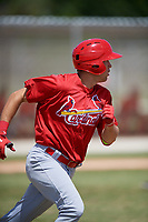 St. Louis Cardinals Dylan Carlson (26) runs to first base during a minor league Spring Training game against the Washington Nationals on March 27, 2017 at the Roger Dean Stadium Complex in Jupiter, Florida.  (Mike Janes/Four Seam Images)