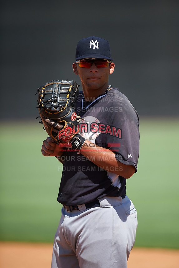 GCL Yankees West first baseman Miguel Flames (48) during a game against the GCL Yankees East on August 3, 2016 at the Yankees Complex in Tampa, Florida.  GCL Yankees East defeated GCL Yankees West 12-2.  (Mike Janes/Four Seam Images)