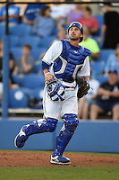 Dunedin Blue Jays catcher Mike Reeves (23) watches a pop up during a game against the Clearwater Threshers on April 10, 2015 at Florida Auto Exchange Stadium in Dunedin, Florida.  Clearwater defeated Dunedin 2-0.  (Mike Janes/Four Seam Images)