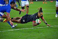 Maori's Sean Wainui scores during the international rugby match between Manu Samoa and the Maori All Blacks at Sky Stadium in Wellington, New Zealand on Saturday, 26 June 2021. Photo: Dave Lintott / lintottphoto.co.nz