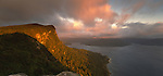 Sunrise on Panekiri Bluff overlooking Lake Waikaremoana in  Te Urewera National Park. Hawke's Bay Region of New Zealand.